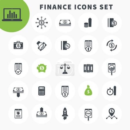 25 finance icons set, investing, funds, assets