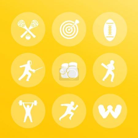 sports icons set archery boxing