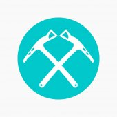 climbing axes icon round pictogram