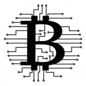 Abstract technology bitcoins logo with circuit line Vector illustration bitcoin mining internet online technology concept