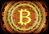 Abstract technology bitcoins logo with circuit line on binary code and gear gold background  Vector illustration bitcoin mining internet online technology concept