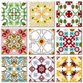 Vintage retro ceramic tile pattern set collection 009