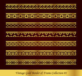 Vintage Gold Border Frame Vector Collection 01