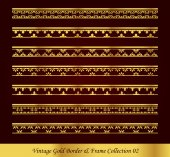 Vintage Gold Border Frame Vector Collection 02