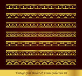 Antique Golden retro abstract seamless pattern frame and border