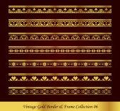 Vintage Gold Border Frame Vector Collection 06