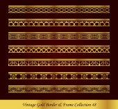 Vintage Gold Border Frame Vector Collection 48