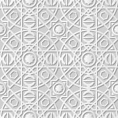 Vector damask seamless 3D paper art pattern background 113 Round Square Cross Line