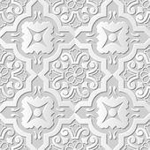 Vector damask seamless 3D paper art pattern background 116 Spiral Round Cross