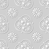 Vector damask seamless 3D paper art pattern background 124 Classic Round Flower