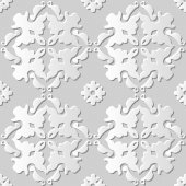 Vector damask seamless 3D paper art pattern background 131 Curve Cross Kaleidoscope