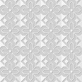 Vector damask seamless 3D paper art pattern background 132 Star Cross Geometry