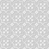 Vector damask seamless 3D paper art pattern background 135 Star Cross Flower