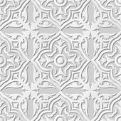 Vector damask seamless 3D paper art pattern background 138 Curve Cross Round