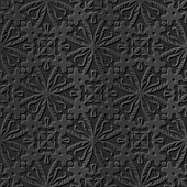 Seamless 3D elegant dark paper art pattern 091 Round Kaleidoscope Cross