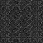 Seamless 3D elegant dark paper art pattern 104 Round Cross Geometry