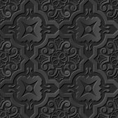 Seamless 3D elegant dark paper art pattern 116 Curve Cross Flower