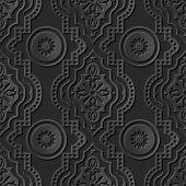 Seamless 3D elegant dark paper art pattern 119 Round Curve Dot Line