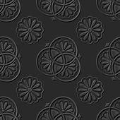 Seamless 3D elegant dark paper art pattern 124 Vintage Round Flower