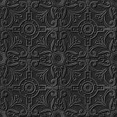 Seamless 3D elegant dark paper art pattern 128 Round Cross Flower