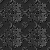 Seamless 3D elegant dark paper art pattern 131 Kaleidoscope Flower