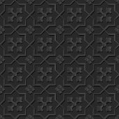 Seamless 3D elegant dark paper art pattern 135 Star Cross Flower