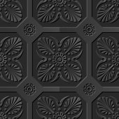 Seamless 3D elegant dark paper art pattern 143 Polygon Cross Flower