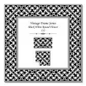 Vintage 3D frame 112 Black White Round Flower