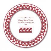 Vintage Round Retro Frame 040 Red Heart Geometry Line