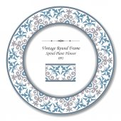 Vintage Round Retro Frame 091 Spiral Plant Flower