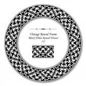 Vintage Round Retro Frame 112 Black White Round Flower