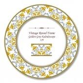 Vintage Round Retro Frame 129 Golden Grey Kaleidoscope