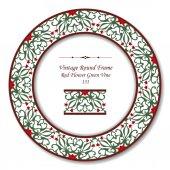 Vintage Round Retro Frame 131 Red Flower Green Vine