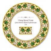 Vintage Round Retro Frame 144 Green Brown Round Kaleidoscope