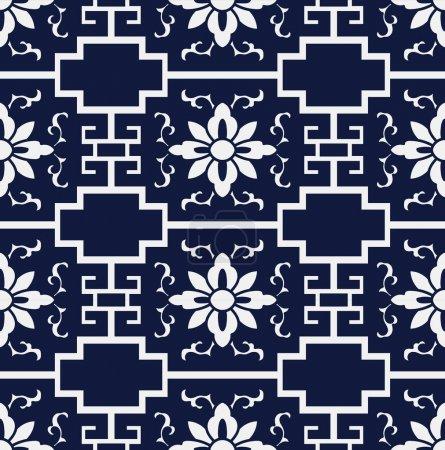 Seamless Blue Japanese Background Cross Geometry Frame Flower