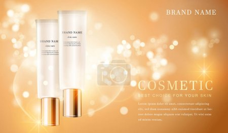 3D transparent cosmetic tube container with shiny golden glimmering background template banner.