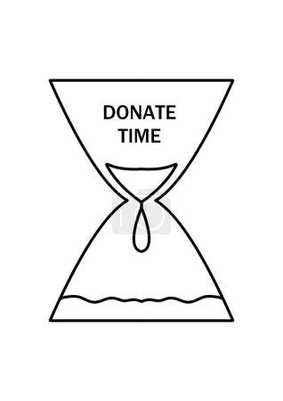Photo pour Caricature sablier avec les mots Donate time. Problèmes sociaux. Logo pour les organismes de bienfaisance et les groupes bénévoles. Recherche de donneurs de sang. Journée mondiale de la santé. - image libre de droit