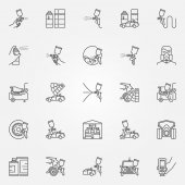 Car Painting icons set