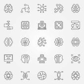 Artificial intelligence icons set Vector robot brain and other