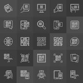 QR Code outline icons - vector set of scan codes signs