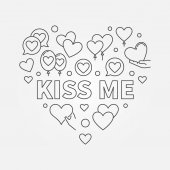 Kiss me heart vector outline illustration