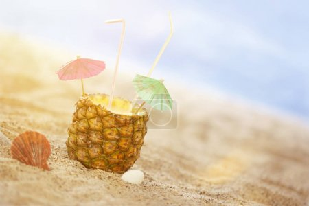 Photo for Summer Still Lifes on the Beach, sunny Luxury and Cocktails with happy Umbrellas and straws - Royalty Free Image