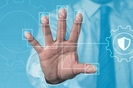 Biometric scanning of a hand, with fingerprints to secure your business: close up concept