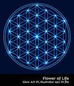 buddhism chakra illustration: Flower of Life Glowing