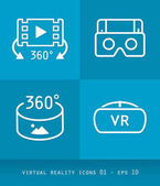 Virtual Reality Icons Set Series Flat 20 Design 01