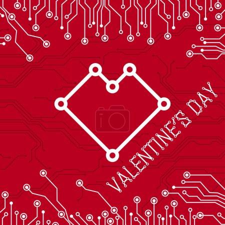 glücklicher Valentinstag abstrakte Technologie. farbenfrohe abstrakte Technologie Herz. abstrakte elektronische Leiterplatte. Valentinstag auf rotem Hintergrund. alles in einer Schicht. Vektorillustration.
