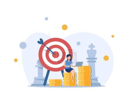Illustration pour Objectifs d'investissement, le caractère de femme d'affaires de bureau exécutent des ides de plan d'affaires. Concept d'entreprise réussi - image libre de droit