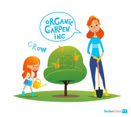 Planting tree with kids. Eco concept. Girl watering plants in the garden. Engaging in Montessori education activities. Organic gardening. Vector illustration