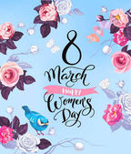 8 March Happy Womens Day greeting card Lovely hand lettering surrounded by half-colored roses butterflies and cute bird sitting on stalk against blue background Vector illustration for poster