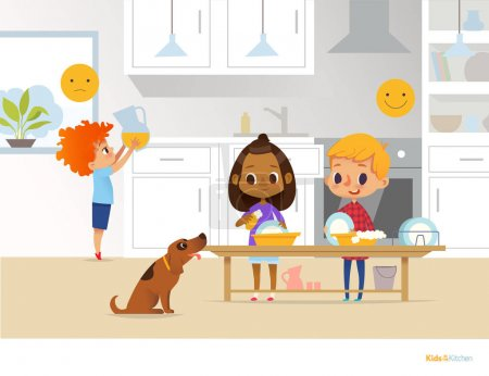Children doing daily routine activities in kitchen. Two kids washing dishes and red head boy holding pitcher with orange juice. Montessori environment concept. Vector illustration for poster, flyer.